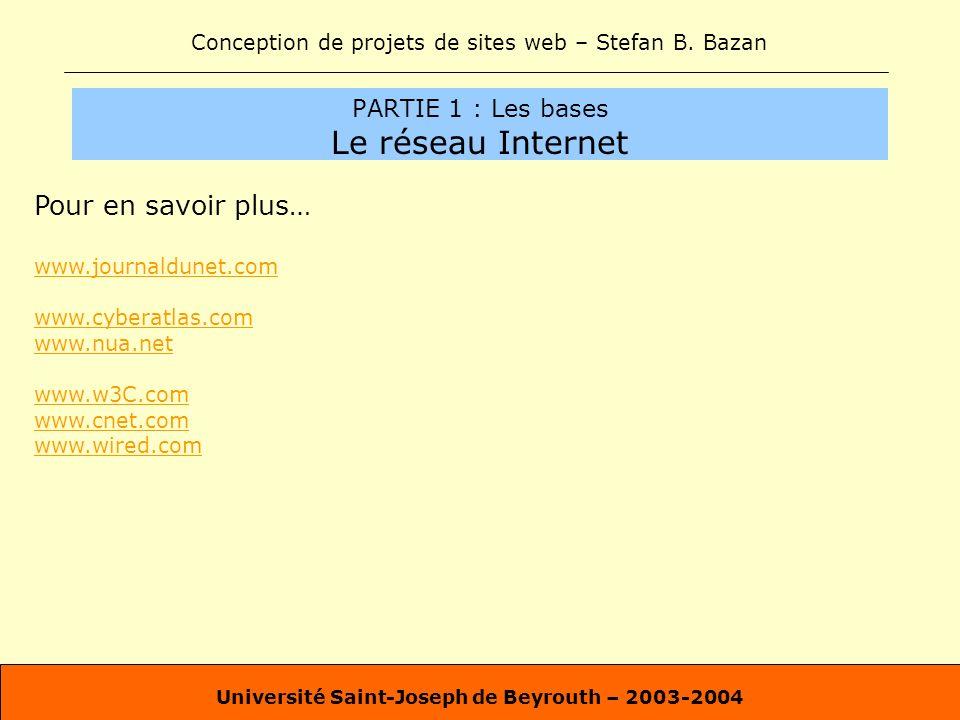 Conception de projets de sites web – Stefan B. Bazan Université Saint-Joseph de Beyrouth – 2003-2004 PARTIE 1 : Les bases Le réseau Internet Pour en s