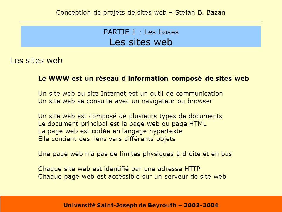 Conception de projets de sites web – Stefan B. Bazan Université Saint-Joseph de Beyrouth – 2003-2004 PARTIE 1 : Les bases Les sites web Les sites web