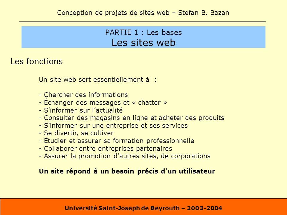 Conception de projets de sites web – Stefan B. Bazan Université Saint-Joseph de Beyrouth – 2003-2004 PARTIE 1 : Les bases Les sites web Les fonctions