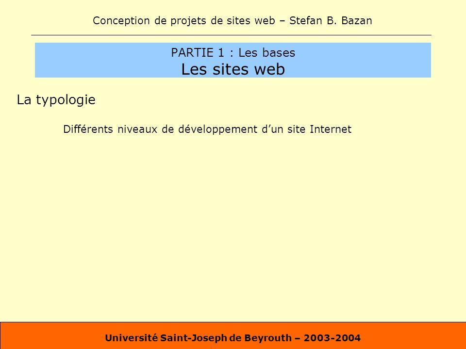 Conception de projets de sites web – Stefan B. Bazan Université Saint-Joseph de Beyrouth – 2003-2004 PARTIE 1 : Les bases Les sites web La typologie D