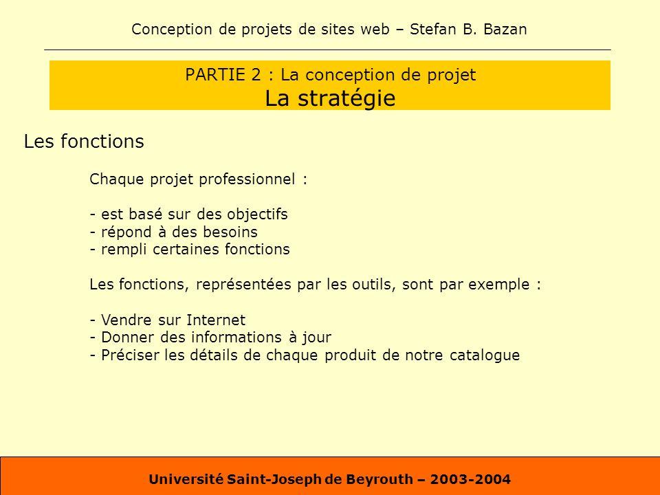 Conception de projets de sites web – Stefan B. Bazan Université Saint-Joseph de Beyrouth – 2003-2004 PARTIE 2 : La conception de projet La stratégie L