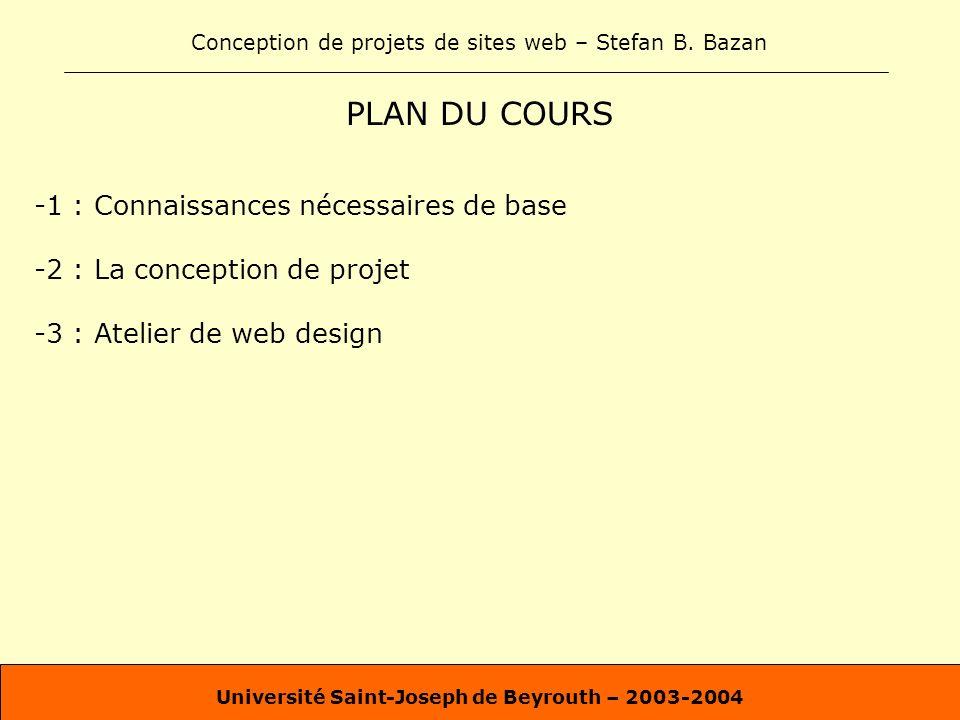 Conception de projets de sites web – Stefan B. Bazan Université Saint-Joseph de Beyrouth – 2003-2004 PLAN DU COURS -1 : Connaissances nécessaires de b