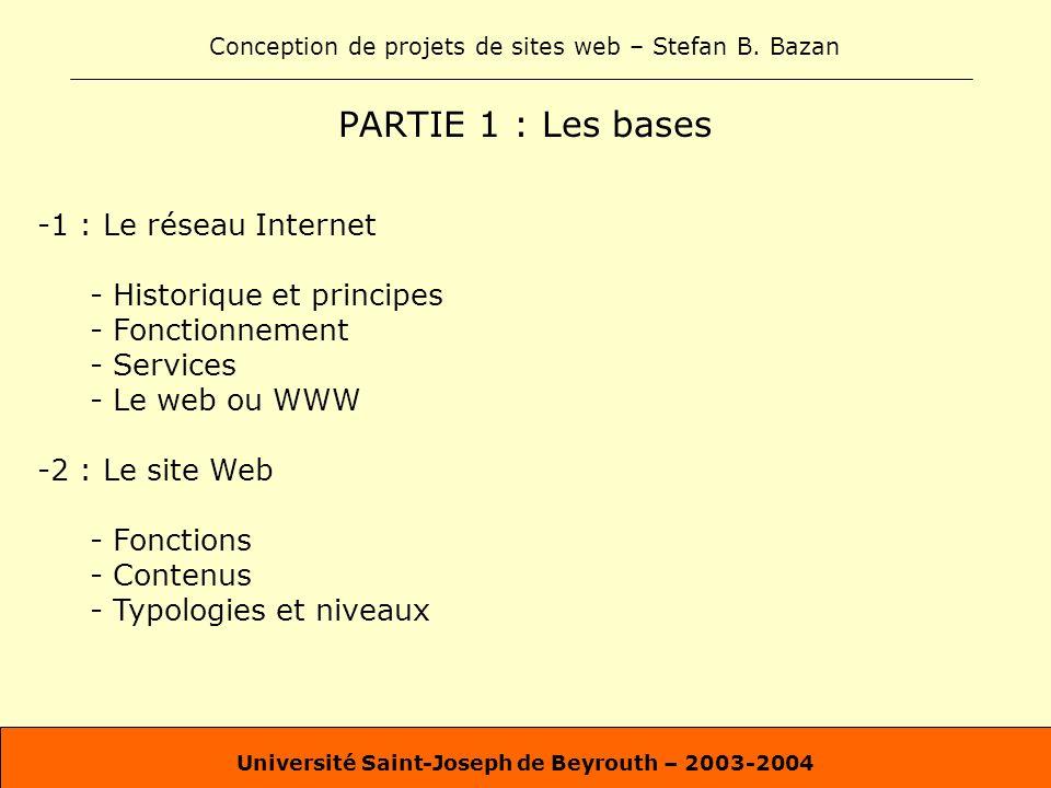 Conception de projets de sites web – Stefan B. Bazan Université Saint-Joseph de Beyrouth – 2003-2004 PARTIE 1 : Les bases -1 : Le réseau Internet - Hi