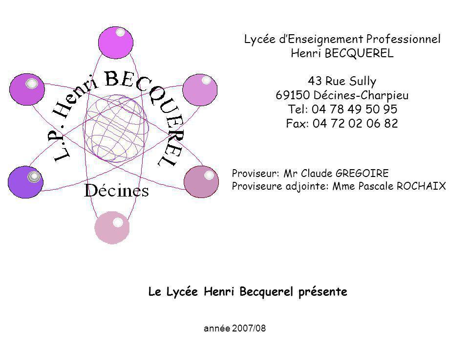 année 2007/08 Lycée dEnseignement Professionnel Henri BECQUEREL 43 Rue Sully 69150 Décines-Charpieu Tel: 04 78 49 50 95 Fax: 04 72 02 06 82 Proviseur: