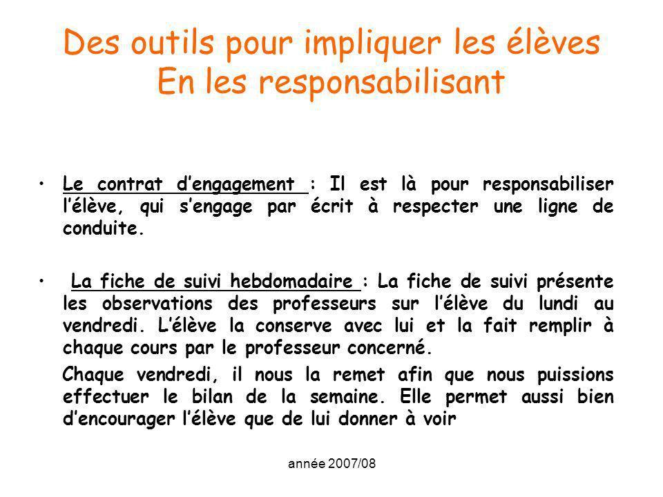 année 2007/08 Des outils pour impliquer les élèves En les responsabilisant Le contrat dengagement : Il est là pour responsabiliser lélève, qui sengage