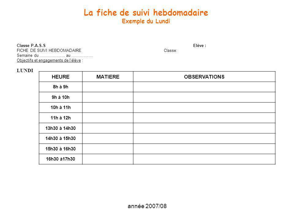 année 2007/08 La fiche de suivi hebdomadaire Exemple du Lundi Classe P.A.S.SElève : FICHE DE SUIVI HEBDOMADAIREClasse: Semaine du.....................