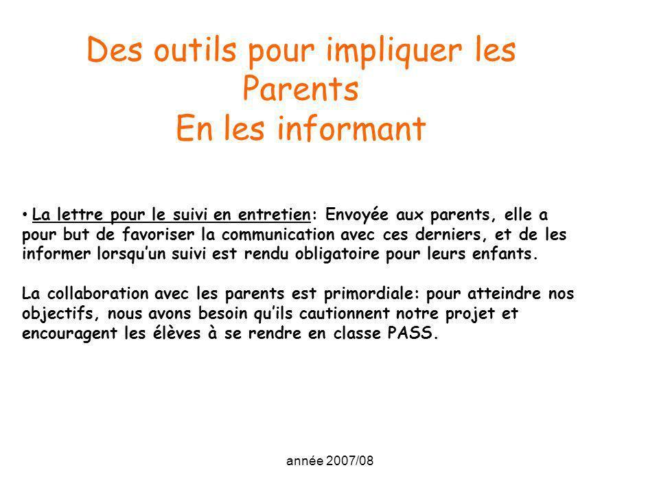 année 2007/08 Des outils pour impliquer les Parents En les informant La lettre pour le suivi en entretien: Envoyée aux parents, elle a pour but de fav