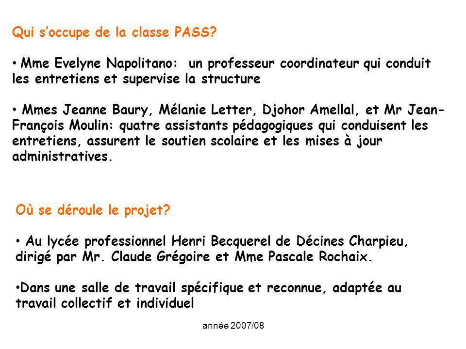 année 2007/08 Qui soccupe de la classe PASS? Mme Evelyne Napolitano: un professeur coordinateur qui conduit les entretiens et supervise la structure M