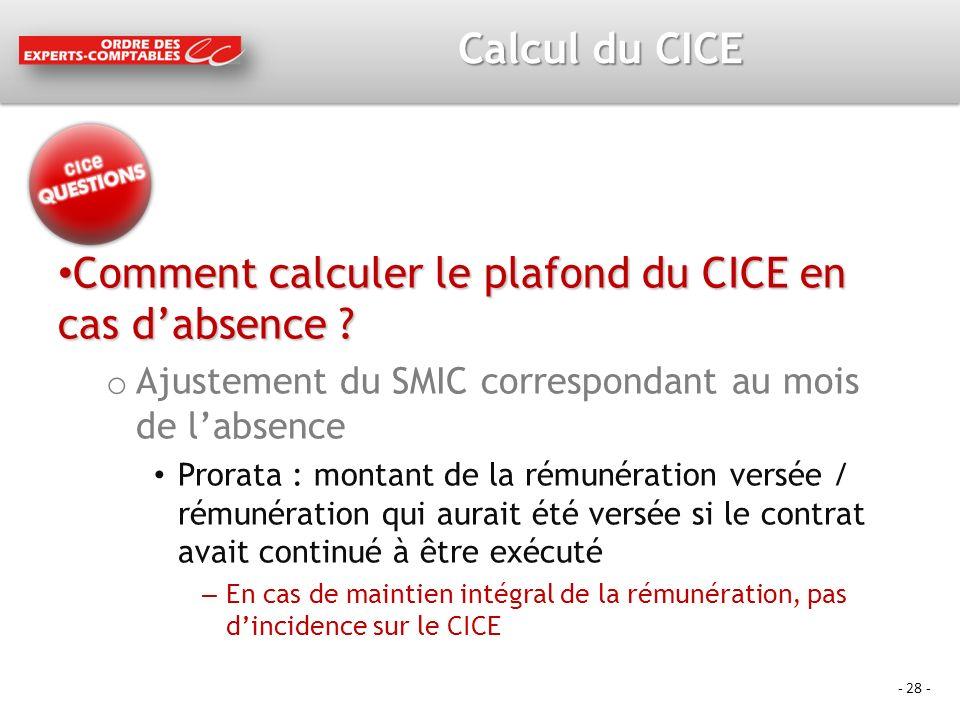 - 28 - Calcul du CICE Comment calculer le plafond du CICE en cas dabsence .