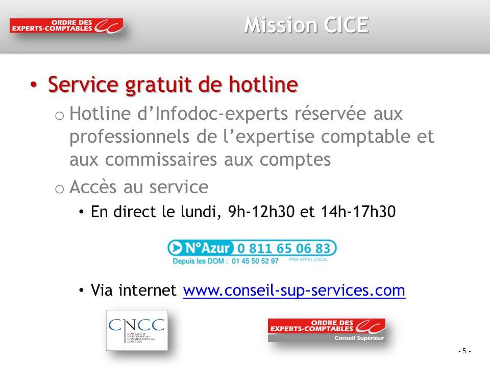 - 5 - Mission CICE Service gratuit de hotline Service gratuit de hotline o Hotline dInfodoc-experts réservée aux professionnels de lexpertise comptable et aux commissaires aux comptes o Accès au service En direct le lundi, 9h-12h30 et 14h-17h30 Via internet www.conseil-sup-services.comwww.conseil-sup-services.com
