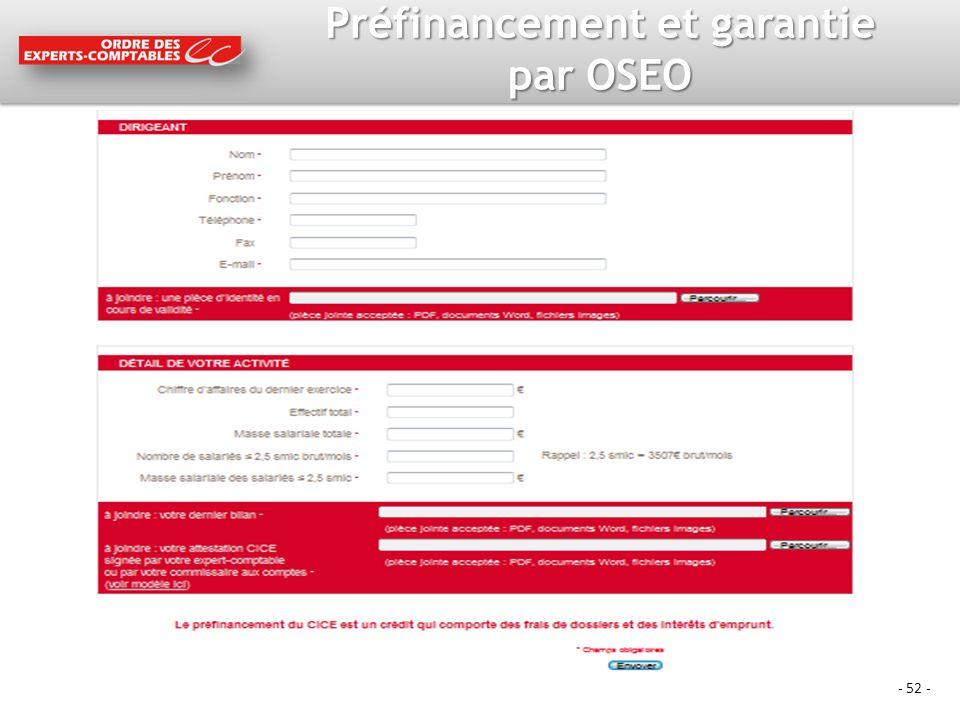 - 52 - Préfinancement et garantie par OSEO