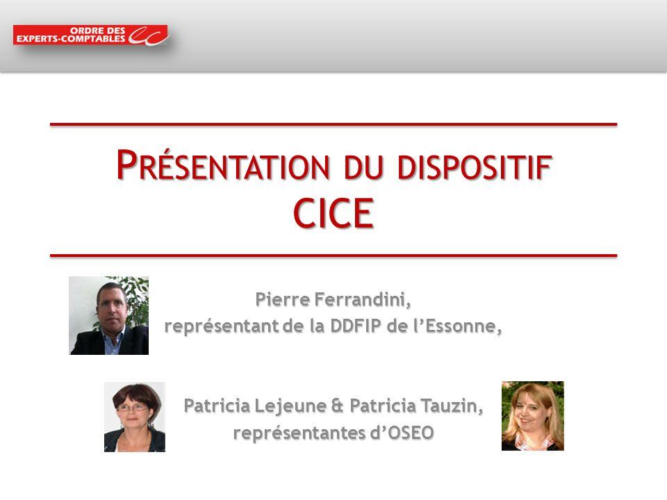 P RÉSENTATION DU DISPOSITIF CICE Pierre Ferrandini, représentant de la DDFIP de lEssonne, Patricia Lejeune & Patricia Tauzin, représentantes dOSEO