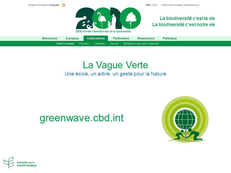 La biodiversité cest la vie La biodiversité cest notre vie La Vague Verte Une école, un arbre, un geste pour la Nature greenwave.cbd.int