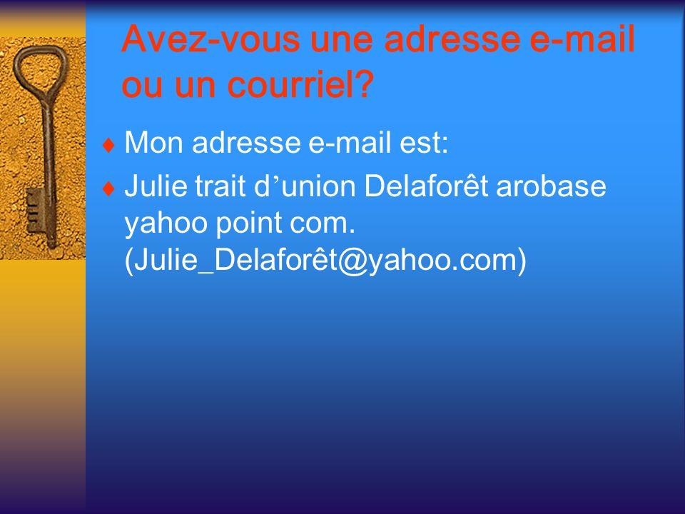 Avez-vous une adresse e-mail ou un courriel? Mon adresse e-mail est: Julie trait d union Delaforêt arobase yahoo point com. (Julie_Delaforêt@yahoo.com