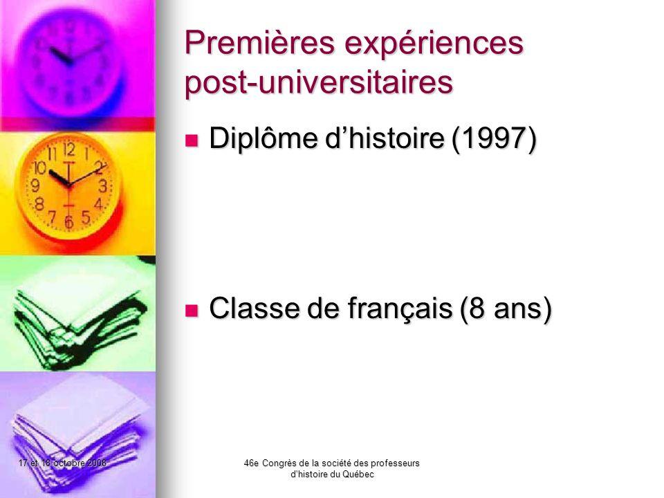 17 et 18 octobre 200846e Congrès de la société des professeurs d histoire du Québec Quelle est la contribution de la classe dHÉC dans le développement des élèves inscrits en formation générale.