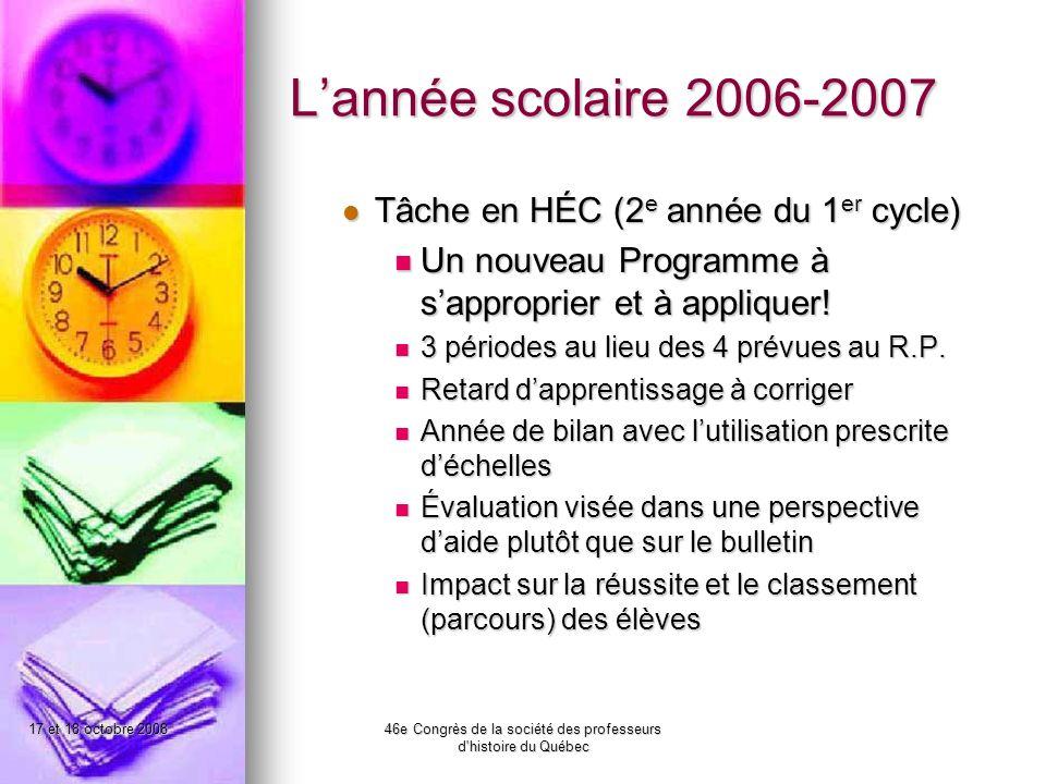 17 et 18 octobre 200846e Congrès de la société des professeurs d histoire du Québec Lannée scolaire 2006-2007 Tâche en HÉC (2 e année du 1 er cycle) Tâche en HÉC (2 e année du 1 er cycle) Un nouveau Programme à sapproprier et à appliquer.