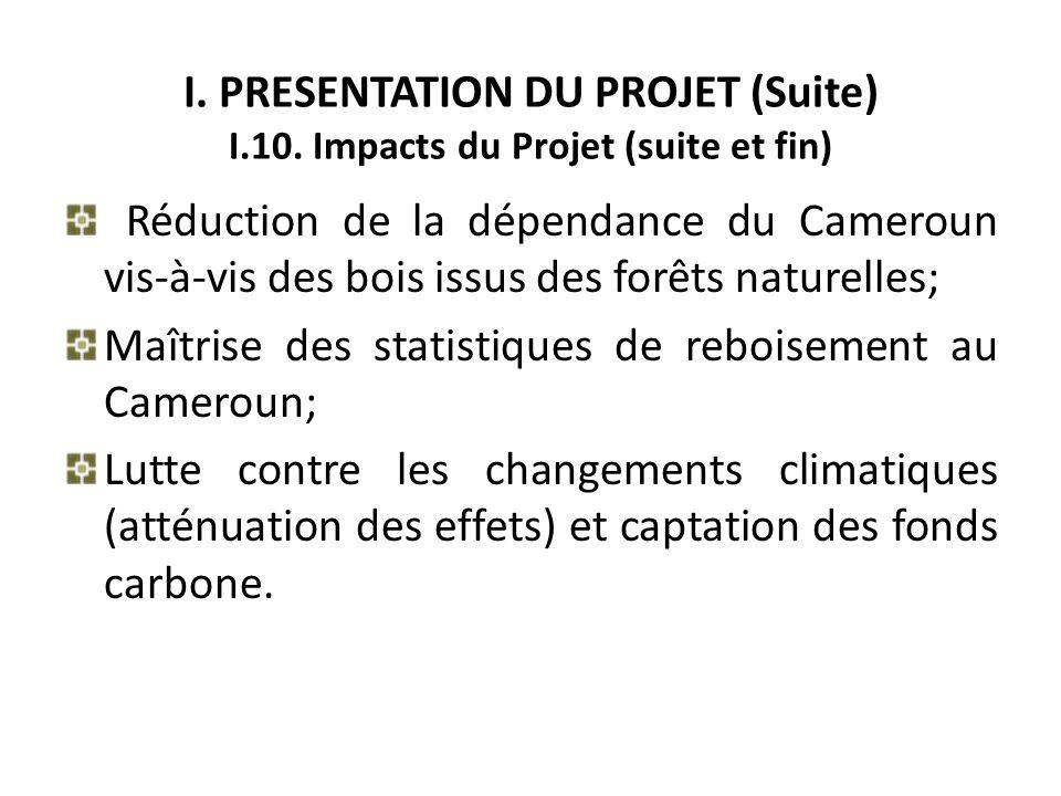 I. PRESENTATION DU PROJET (Suite) I.10. Impacts du Projet (suite et fin) Réduction de la dépendance du Cameroun vis-à-vis des bois issus des forêts na