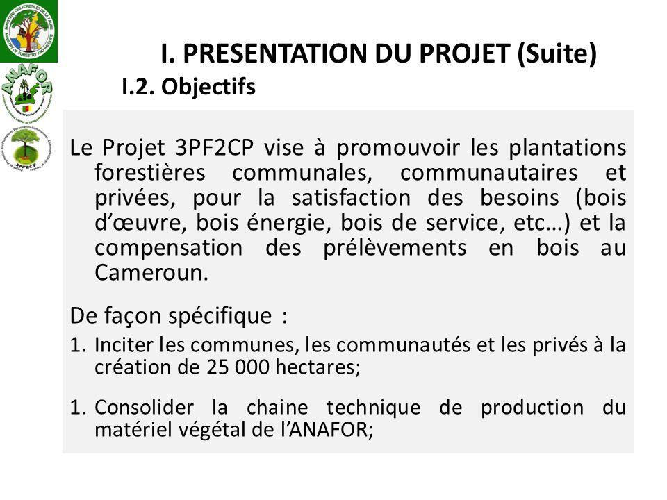 Le Projet 3PF2CP vise à promouvoir les plantations forestières communales, communautaires et privées, pour la satisfaction des besoins (bois dœuvre, bois énergie, bois de service, etc…) et la compensation des prélèvements en bois au Cameroun.