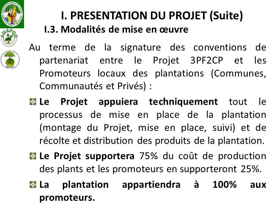 I. PRESENTATION DU PROJET (Suite) I.3. Modalités de mise en œuvre Au terme de la signature des conventions de partenariat entre le Projet 3PF2CP et le