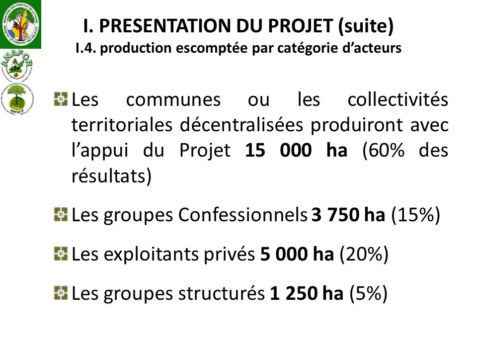 I. PRESENTATION DU PROJET (suite) I.4. production escomptée par catégorie dacteurs Les communes ou les collectivités territoriales décentralisées prod