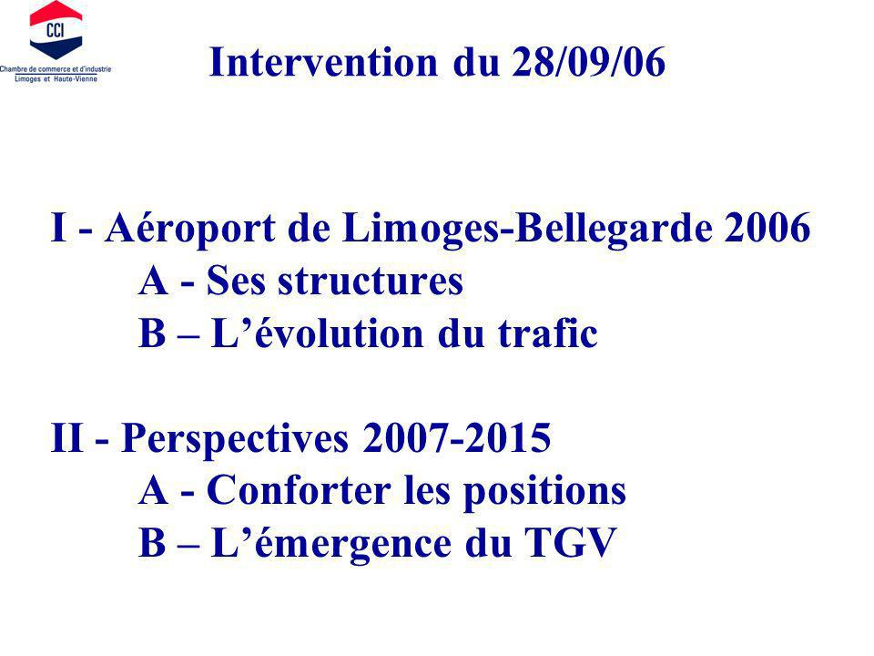 I - Aéroport de Limoges-Bellegarde 2006 A - Ses structures B – Lévolution du trafic II - Perspectives 2007-2015 A - Conforter les positions B – Lémergence du TGV Intervention du 28/09/06