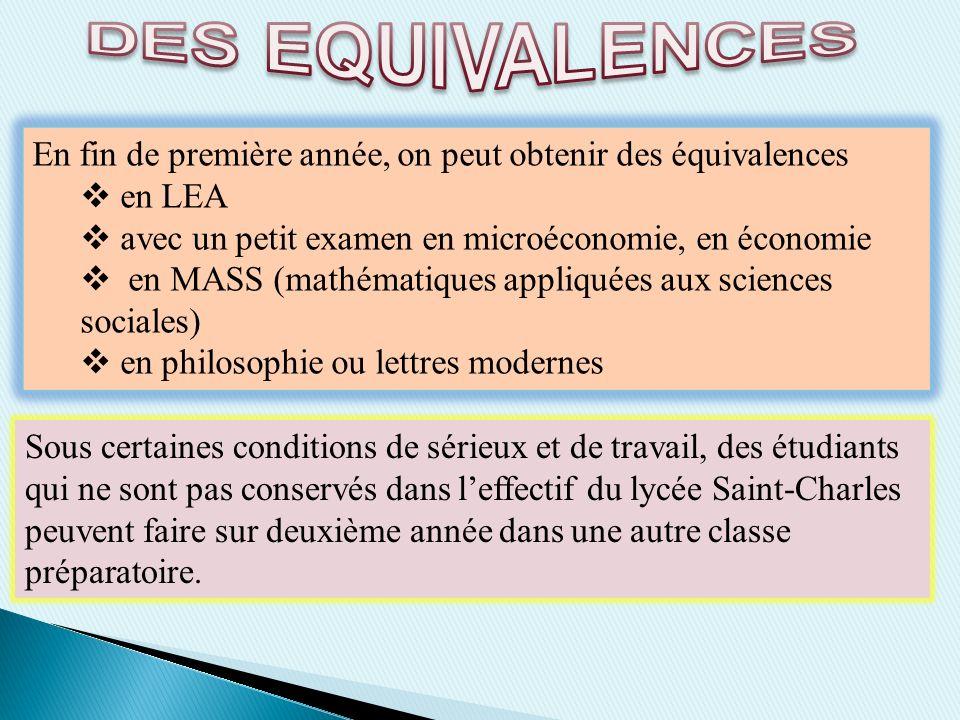 En fin de première année, on peut obtenir des équivalences en LEA avec un petit examen en microéconomie, en économie en MASS (mathématiques appliquées