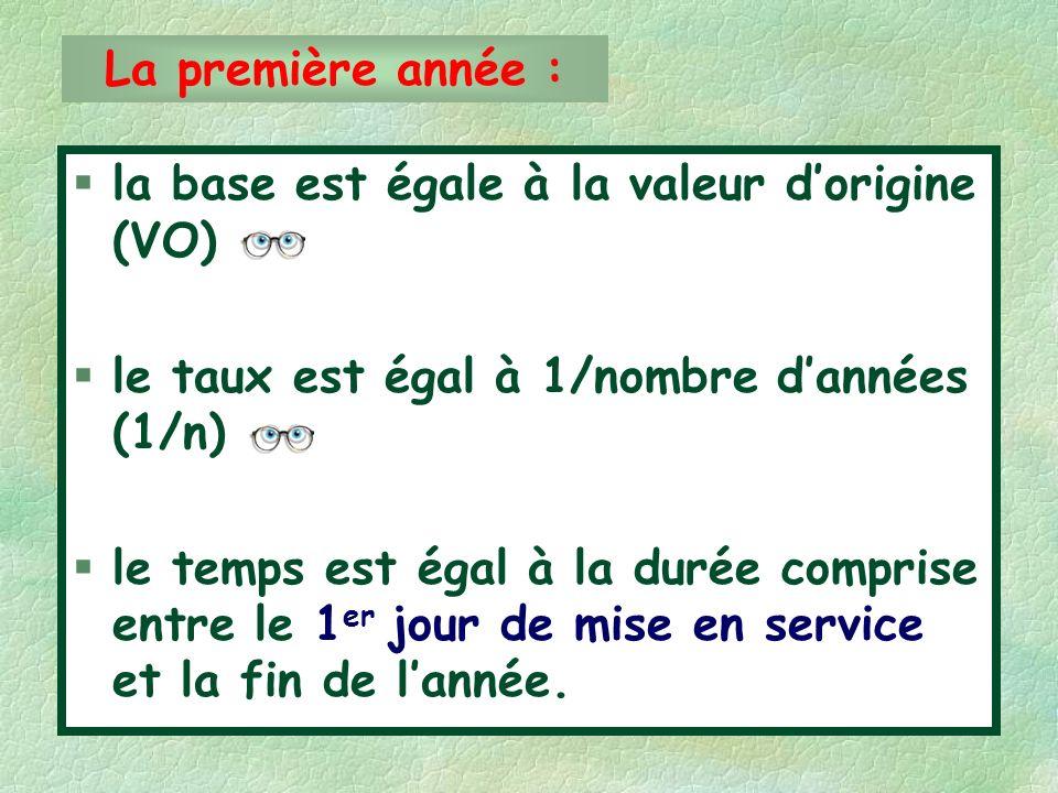 §la base est égale à la valeur dorigine (VO) §le taux est égal à 1/nombre dannées (1/n) §le temps est égal à la durée comprise entre le 1 er jour de mise en service et la fin de lannée.