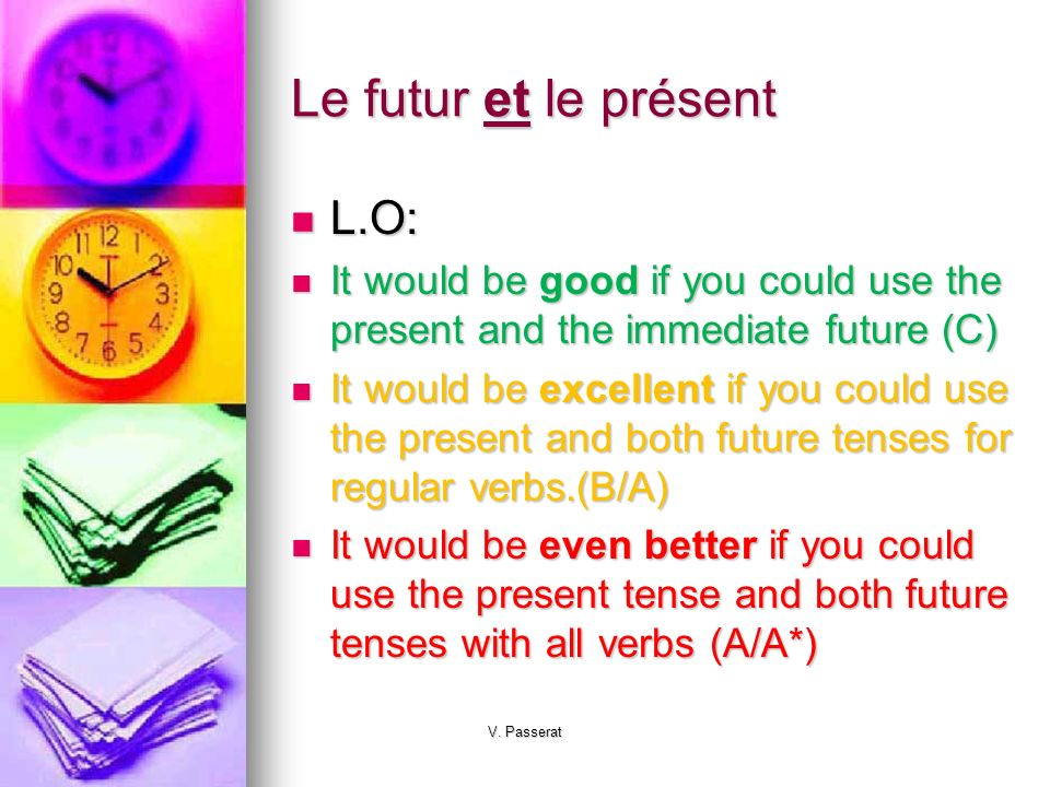 Le futur et le présent L.O: L.O: It would be good if you could use the present and the immediate future (C) It would be good if you could use the present and the immediate future (C) It would be excellent if you could use the present and both future tenses for regular verbs.(B/A) It would be excellent if you could use the present and both future tenses for regular verbs.(B/A) It would be even better if you could use the present tense and both future tenses with all verbs (A/A*) It would be even better if you could use the present tense and both future tenses with all verbs (A/A*) V.