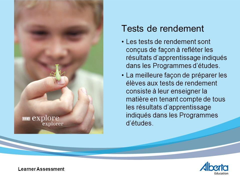 Tests de rendement Les tests de rendement sont conçus de façon à refléter les résultats dapprentissage indiqués dans les Programmes détudes.