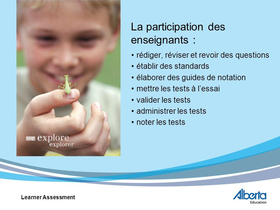 La participation des enseignants : rédiger, réviser et revoir des questions établir des standards élaborer des guides de notation mettre les tests à l