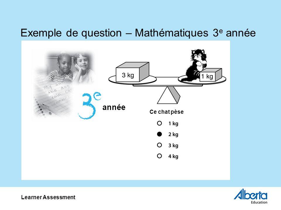 Exemple de question – Mathématiques 3 e année Learner Assessment Ce chat pèse année