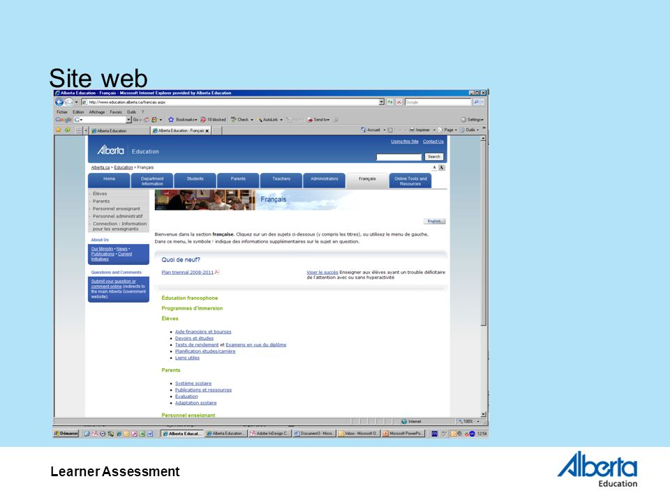 Site web Learner Assessment