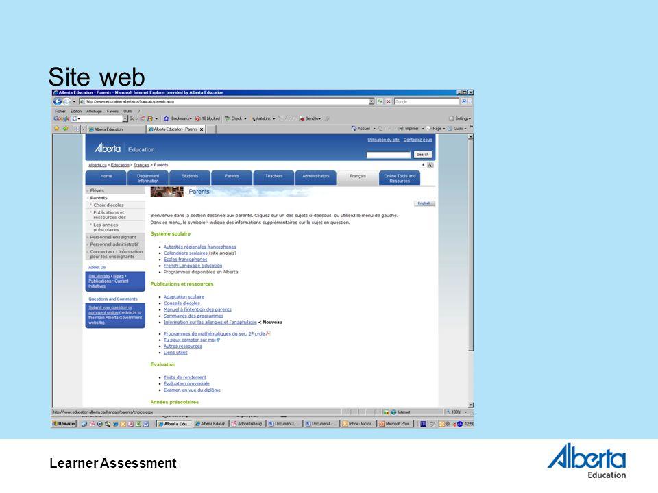 Site web Learner Assessment