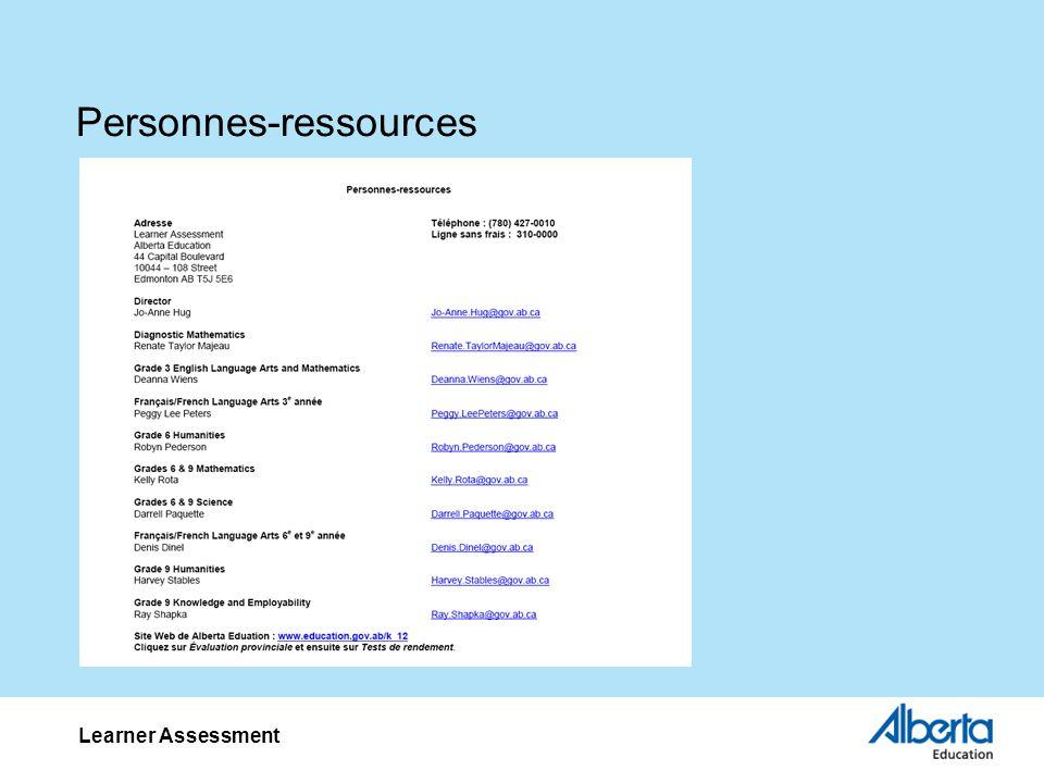 Personnes-ressources Learner Assessment