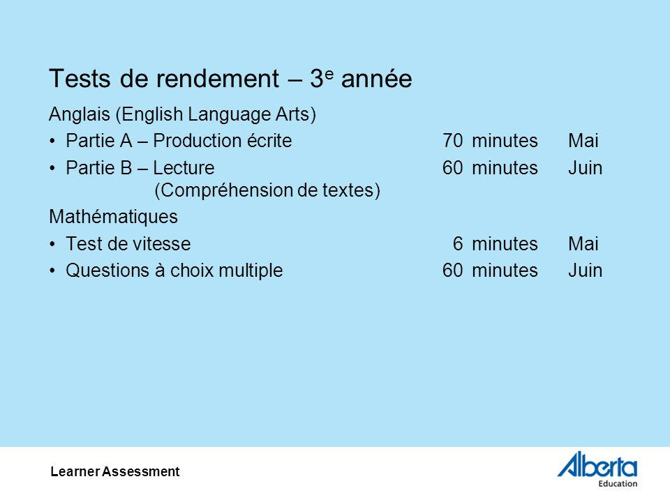 Tests de rendement – 3 e année Anglais (English Language Arts) Partie A – Production écrite70minutesMai Partie B – Lecture60minutesJuin (Compréhension de textes) Mathématiques Test de vitesse6minutesMai Questions à choix multiple60minutesJuin Learner Assessment