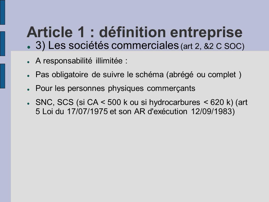 Article 1 : définition entreprise 3) Les sociétés commerciales (art 2, &2 C SOC) A responsabilité illimitée : Pas obligatoire de suivre le schéma (abr