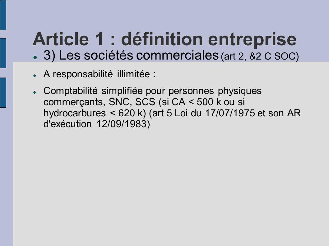 Article 1 : définition entreprise 3) Les sociétés commerciales (art 2, &2 C SOC) A responsabilité illimitée : Comptabilité simplifiée pour personnes p