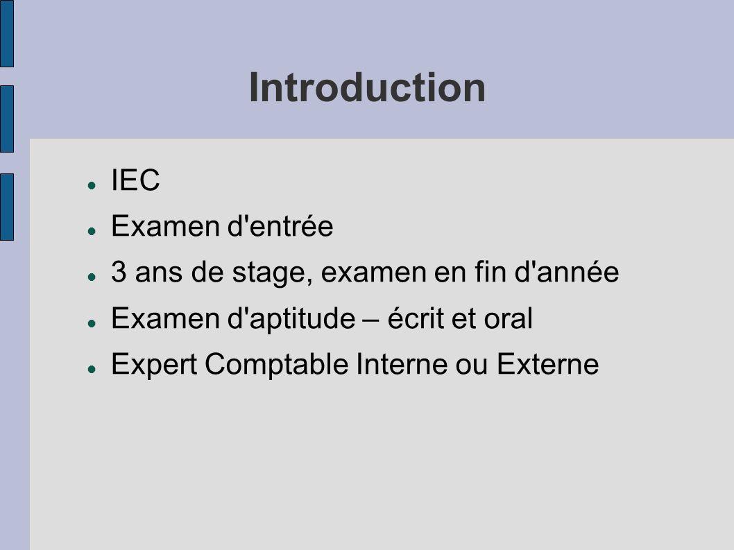 Introduction IEC Examen d'entrée 3 ans de stage, examen en fin d'année Examen d'aptitude – écrit et oral Expert Comptable Interne ou Externe