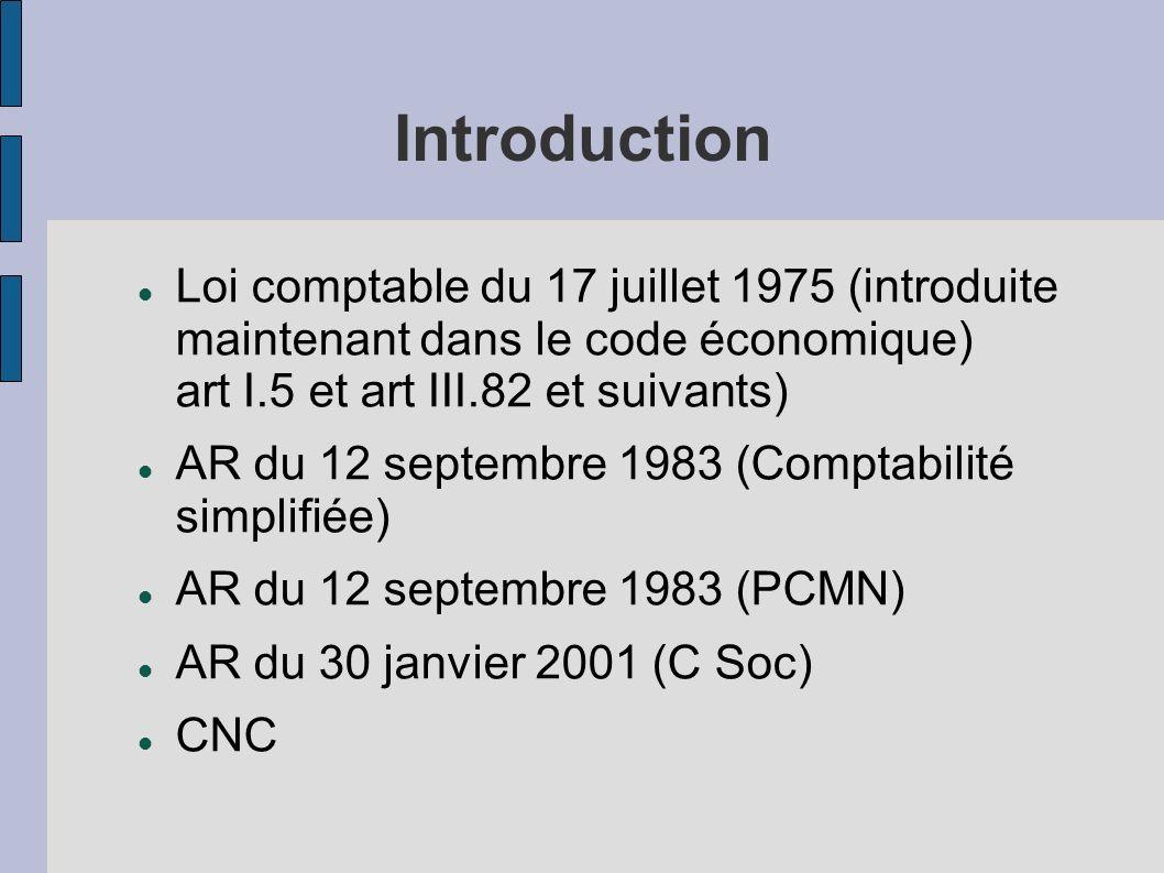 Introduction Loi comptable du 17 juillet 1975 (introduite maintenant dans le code économique) art I.5 et art III.82 et suivants) AR du 12 septembre 19