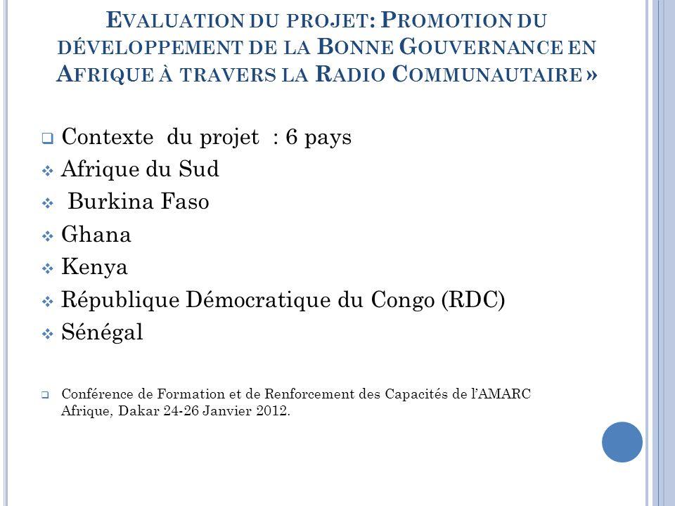 T HÉMATIQUES DU PROJET VIH-SIDA (2009) Eau et Assainissement (2010) Gouvernance ( 2011).