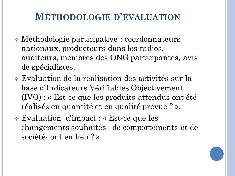 M ÉTHODOLOGIE D EVALUATION Méthodologie participative : coordonnateurs nationaux, producteurs dans les radios, auditeurs, membres des ONG participantes, avis de spécialistes.