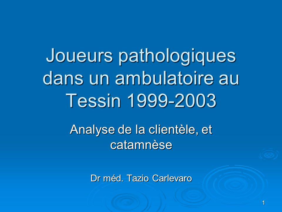1 Joueurs pathologiques dans un ambulatoire au Tessin 1999-2003 Analyse de la clientèle, et catamnèse Dr méd.