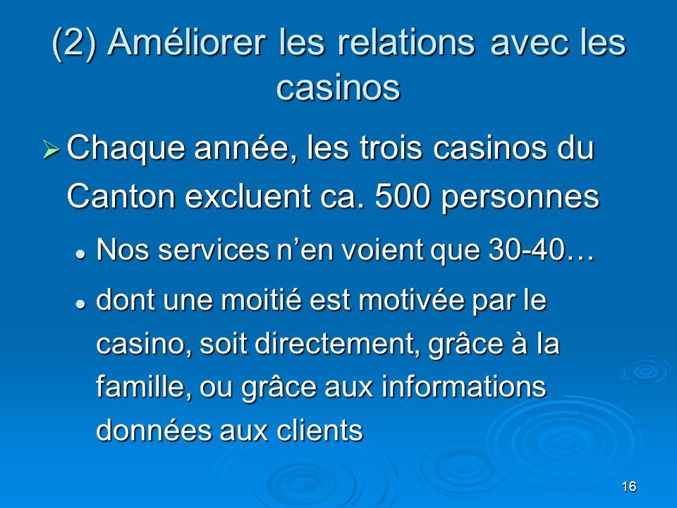 16 (2) Améliorer les relations avec les casinos Chaque année, les trois casinos du Canton excluent ca.