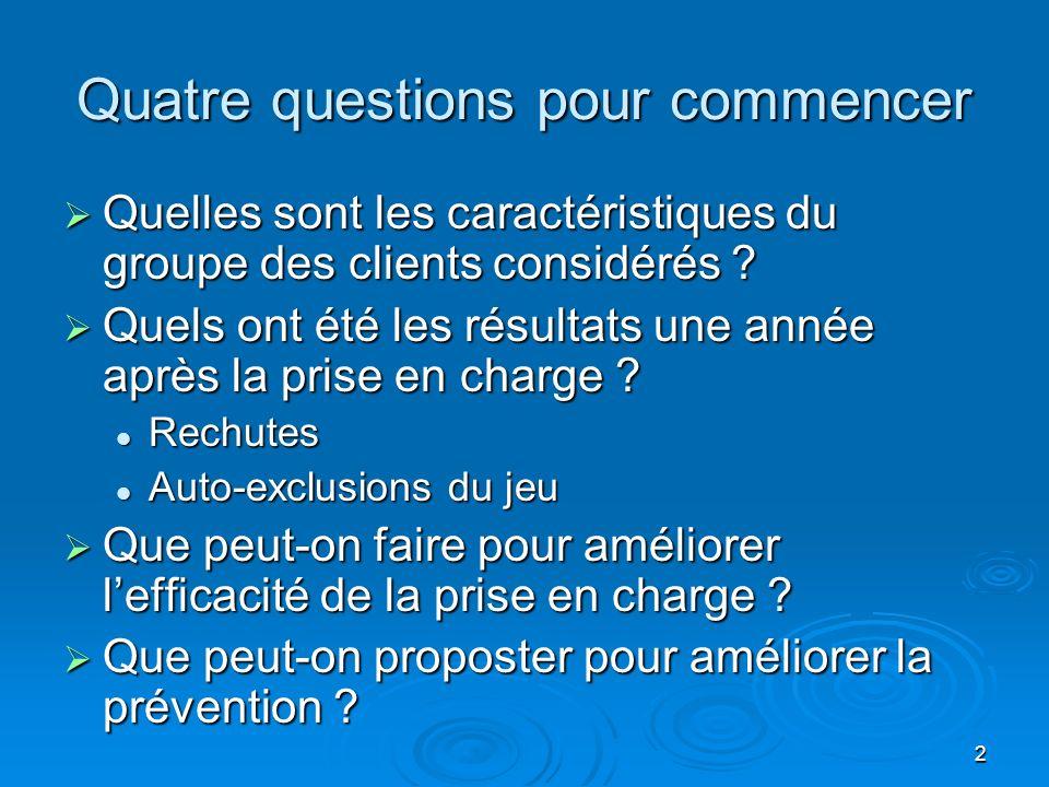 2 Quatre questions pour commencer Quelles sont les caractéristiques du groupe des clients considérés .