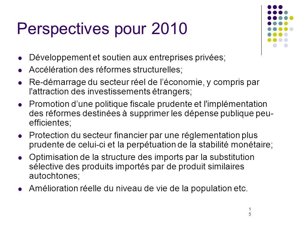 15 Perspectives pour 2010 Développement et soutien aux entreprises privées; Accélération des réformes structurelles; Re-démarrage du secteur réel de léconomie, y compris par l attraction des investissements étrangers; Promotion dune politique fiscale prudente et l implémentation des réformes destinées à supprimer les dépense publique peu- efficientes; Protection du secteur financier par une réglementation plus prudente de celui-ci et la perpétuation de la stabilité monétaire; Optimisation de la structure des imports par la substitution sélective des produits importés par de produit similaires autochtones; Amélioration réelle du niveau de vie de la population etc.