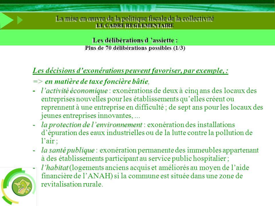 Les décisions dexonérations peuvent favoriser, par exemple, : => en matière de taxe foncière bâtie, lactivité économique - lactivité économique : exon