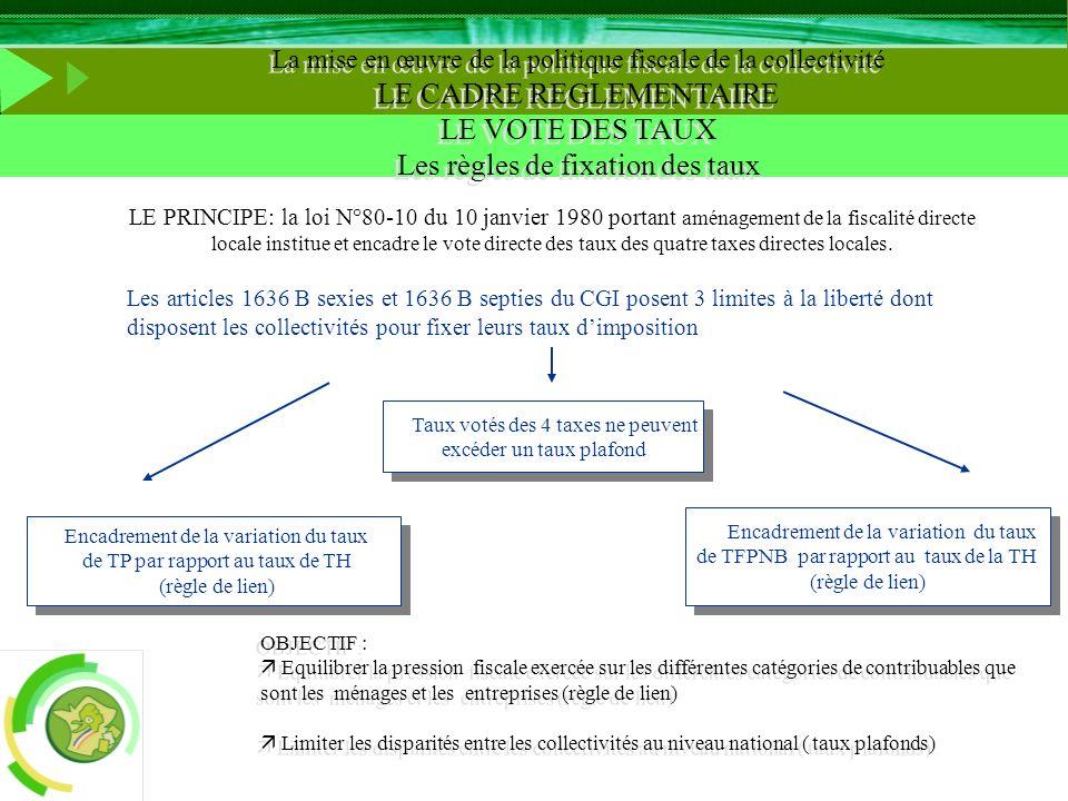 LE PRINCIPE: la loi N°80-10 du 10 janvier 1980 portant aménagement de la fiscalité directe locale institue et encadre le vote directe des taux des qua