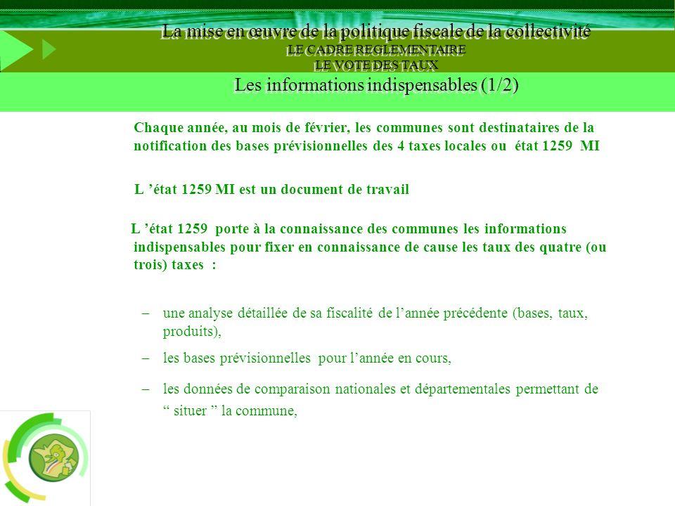 Chaque année, au mois de février, les communes sont destinataires de la notification des bases prévisionnelles des 4 taxes locales ou état 1259 MI L é