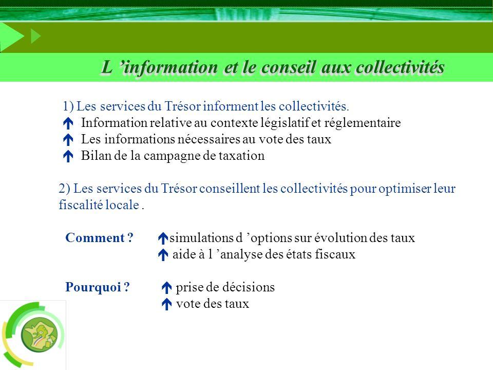 L information et le conseil aux collectivités 1) Les services du Trésor informent les collectivités. Information relative au contexte législatif et ré