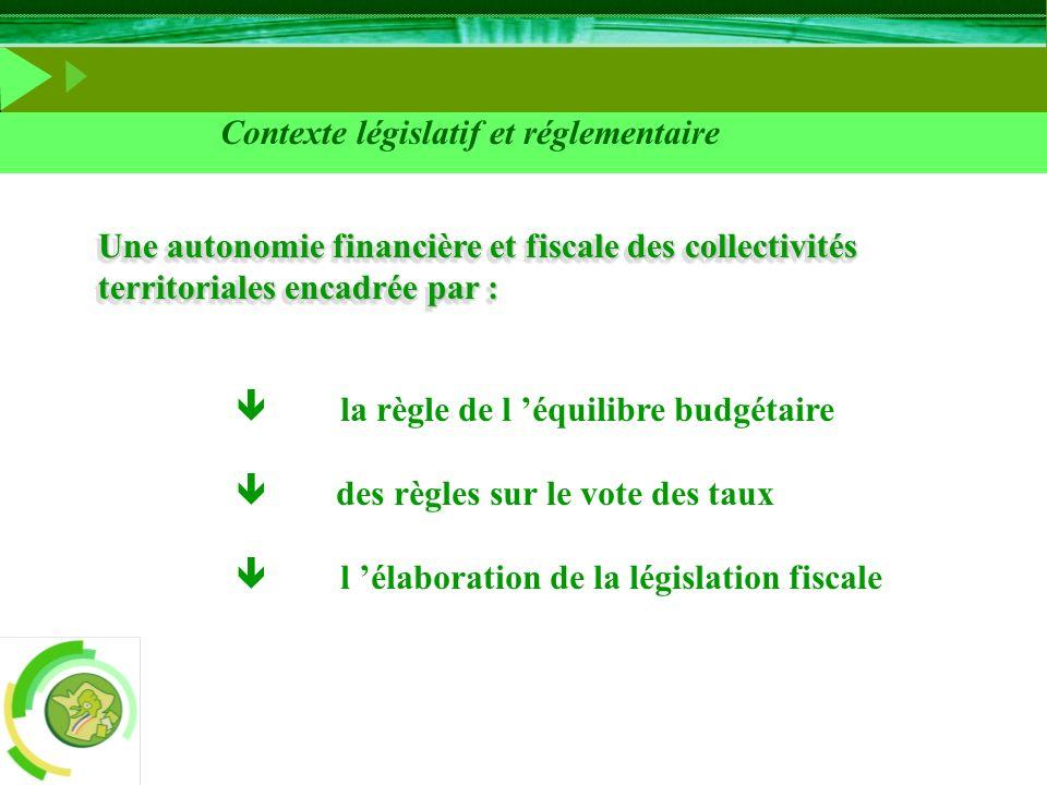 Contexte législatif et réglementaire la règle de l équilibre budgétaire des règles sur le vote des taux l élaboration de la législation fiscale Une au